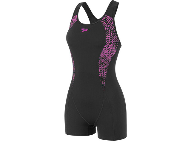 speedo Placement Racerback Legsuit Dames, hex black/diva